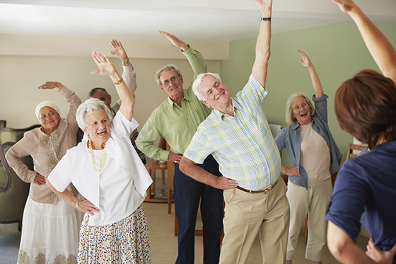 Daily stretching exercise routine for the elderly at an old age home